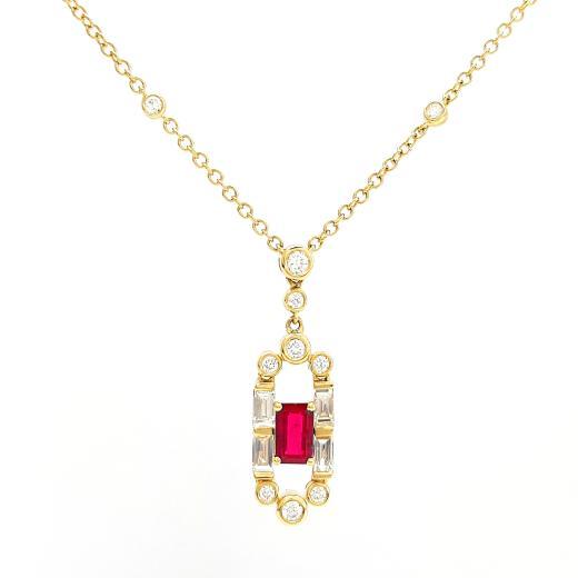 23dbd7ee478f7 Pendant 18Y Gatsby Diamond & Ruby